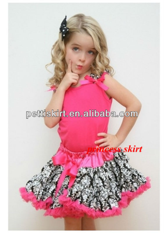 High Quality hot pink pettiskirt set with flower for Halloween