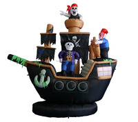 210cm/7ft inflatable tall pirate boat for Hallowen decoration