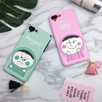 Korean kawaii lovely emoji girl face cover case for iphone 7 6s plus star stassel heart silk printing soft phone case for iphone