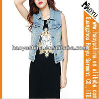 Wholesale jean vest korea style sexyWomen sleeveless jacket fashion womens Denim vest (HYWJ157)
