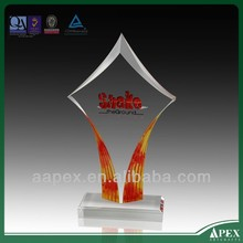 custom logo acrylic paperweight trophy award with medal