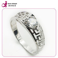 Fashion man copper plating white gold cz ring wholesale jewelry machine wedding door gift