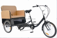 "20"" steel frame tricycle 3 wheels with comfortable passenger seat"