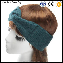 Vintage monochrome knitted ear cover winter headband crochet head piece head scarf tie HA-1317