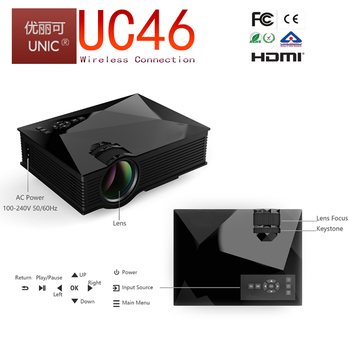 UNIC 2017 wireless connection 1200lumens support android,iOS,Windows 8.0 and above UC46 wifi mini projector