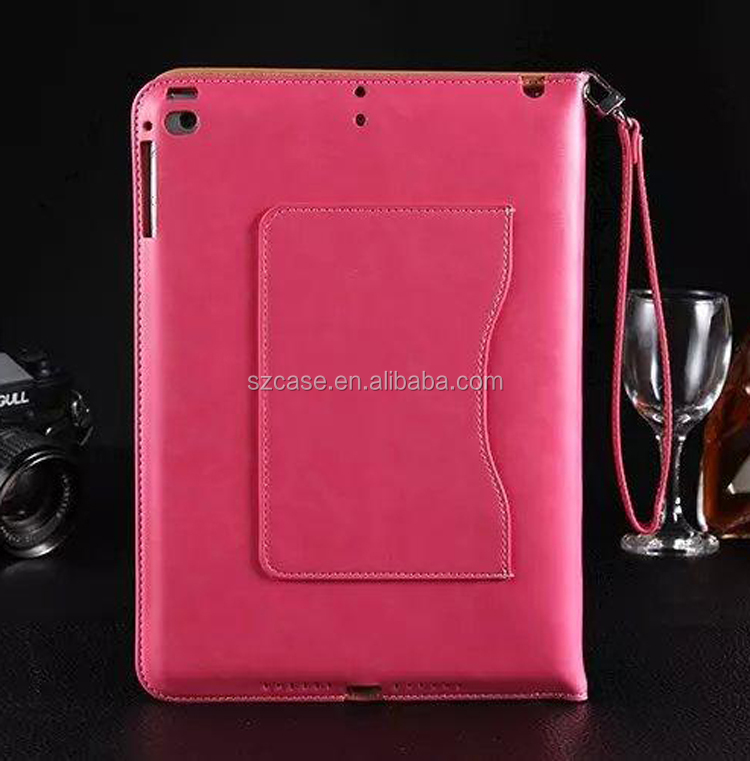 Luxury Briefcase leather Wallet Stand case for Ipad Air 2,Holding Card Bag Design Case for Ipad Air 2