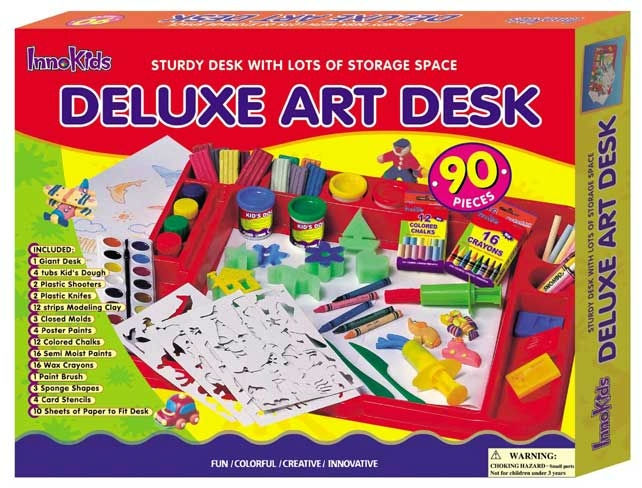 Deluxe Children Art Wrokshop Desk with art materials