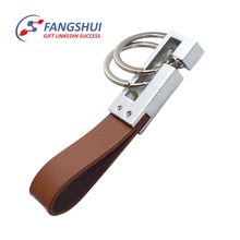 Leather retractable key ring key holder keychain with hook