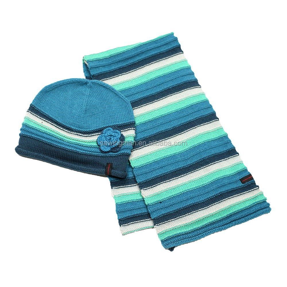 Wool Acrylic Flower Striped Knitted Hat and Scarf