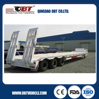 OBT 40-60ton 3 axle concave beam low bed trailer for sale / low bed truck semi trailer / lowbed truck semitrailer