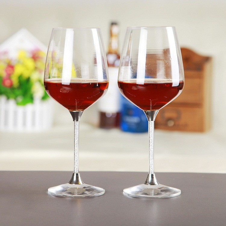 High Quality Customized Crystal Fancy Giant Coloured Red Wine Glass With Sintra