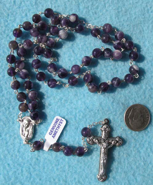 European latest style christian genuine amethyst rosary necklaces chaplet