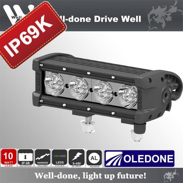 8'' 40W Oledone hot sale aluminum housing combo beam waterproof IP69K LED light bar for Racing WD-4N10