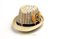 custom kids baby children mix color short brim cowboy hat Panama Fedora straw hat with leather belt