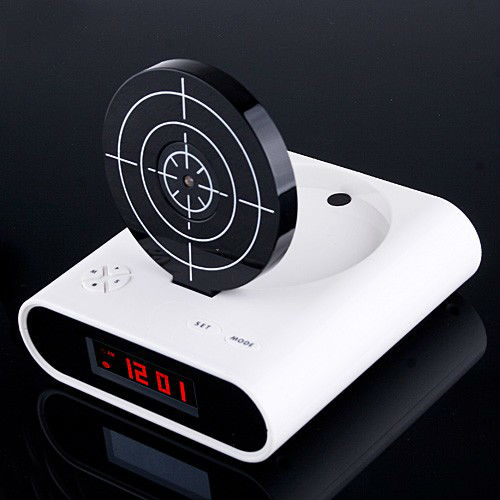 New Novelty Gadget Funny LCD Gun Alarm Clock with Target Panel Shooting Game Toy
