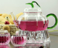 Cute Colorful Clear Pyrex Glass Tea Pot Fruit teapot set