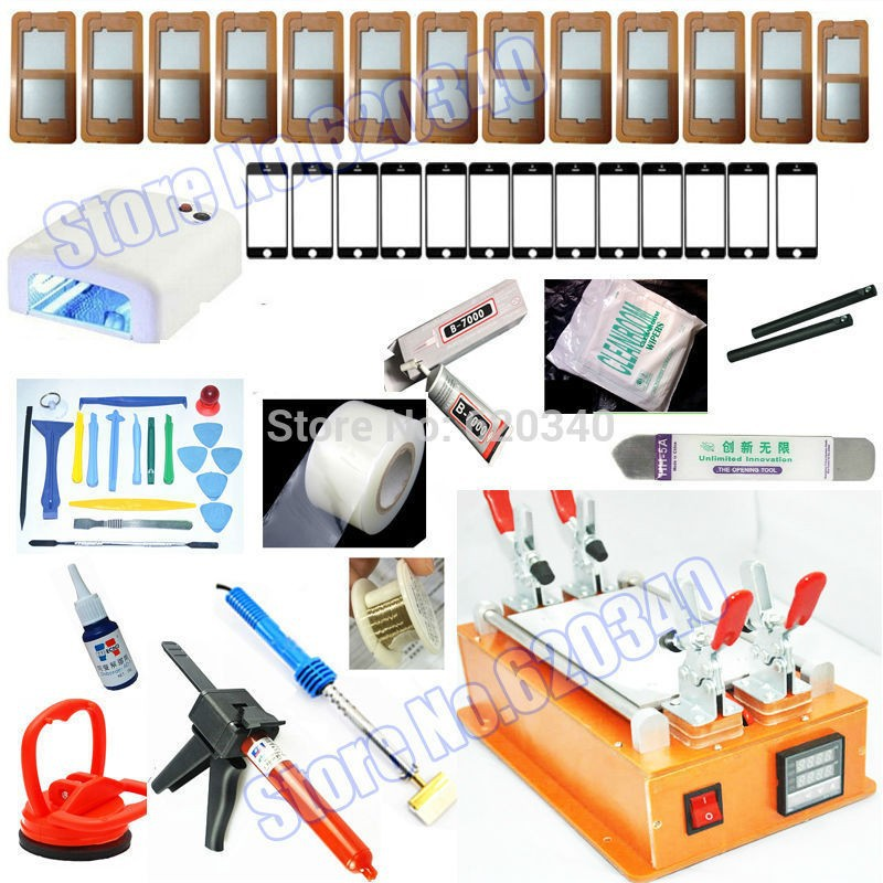 Free shipping Mobile phone 7 Inch Touch Glass LCD Screen Separator Repair Kit machine +UV lamp+Optical Clear Adhesive+template
