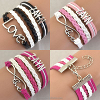 Silver Love ZAYN Infinity Cheap Personalised Fashion Jewelry Cuff Charm New Design Bracelets