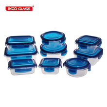 18pcs supermarket popular glass food container set with blue lid