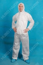 Hubei Haixin, China, High Quality,CPE+PE coverall with elastic cuff and hood