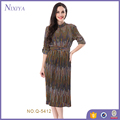 New Fashion Women Stripe Long Stand Neck Dress With Belt