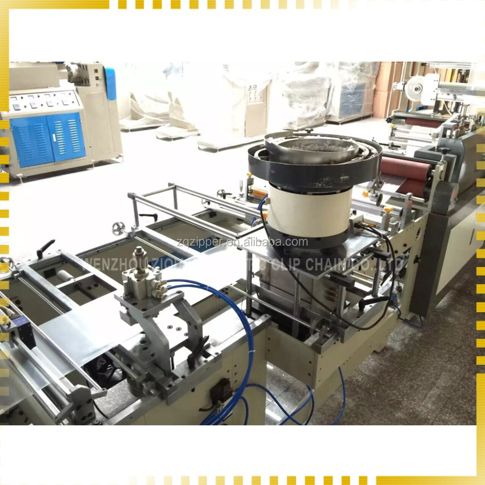 PE zipper bag making machine with auto slider attachment