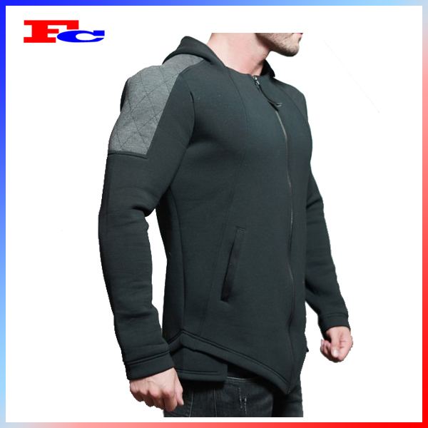100% Cotton custom embroided hoodie men tracksuit plain pullover hoodie without pockets