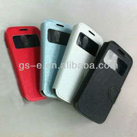Newest design leather+tpu case for samsung galaxy s4 mini i9190 flip case cover