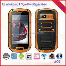 "LONGJOY IP68 4.3"" 3G Three-Anti Quad core Military Android Dual SIM WCDMA rugged phone S09 with Walkie Talkie"