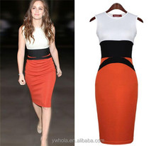 2016 Latest design fashion casual women patchwork dress wholesale adolescent clothing tank dress Ladies Office dress