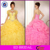OEM Service Quinceanera Dresses with Detachable Skirt Ball Gown Strapless Sweetheart Ruffled Beaded ED-YH651