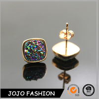 2016 Fashion costume crystal jewelry gold druzy earrings