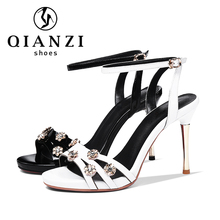 7573 Made In China white and black shoes with gold flowers and heels women's strappy sandals