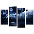 Moonlight Picture Giclee Prints Full Moon Canvas Printing Picture Decorative Canvas Artwork for Living Room and Bedroom 4-Panel