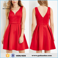 One Piece Red Satin Sexy Sleeveless A Line Short Mini Night Celebrity Girl Dress