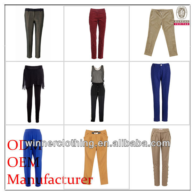 Women's your own brand designer different kinds of female pants trousers