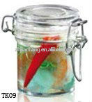 square glass jar with metal clip TK09
