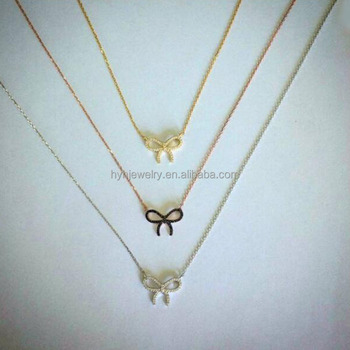 New model gold plated color thin chain necklace Gothic style bow knot silver girls necklace made with zircon stone