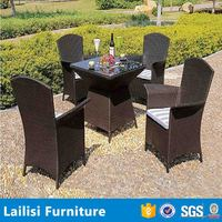 PE rattan / wicker weave outdoor / balcony / garden / furniture / dining table / chair