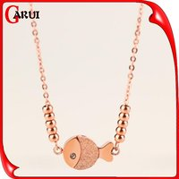 Latest design beads necklaces chain rhinestone gold fish necklace