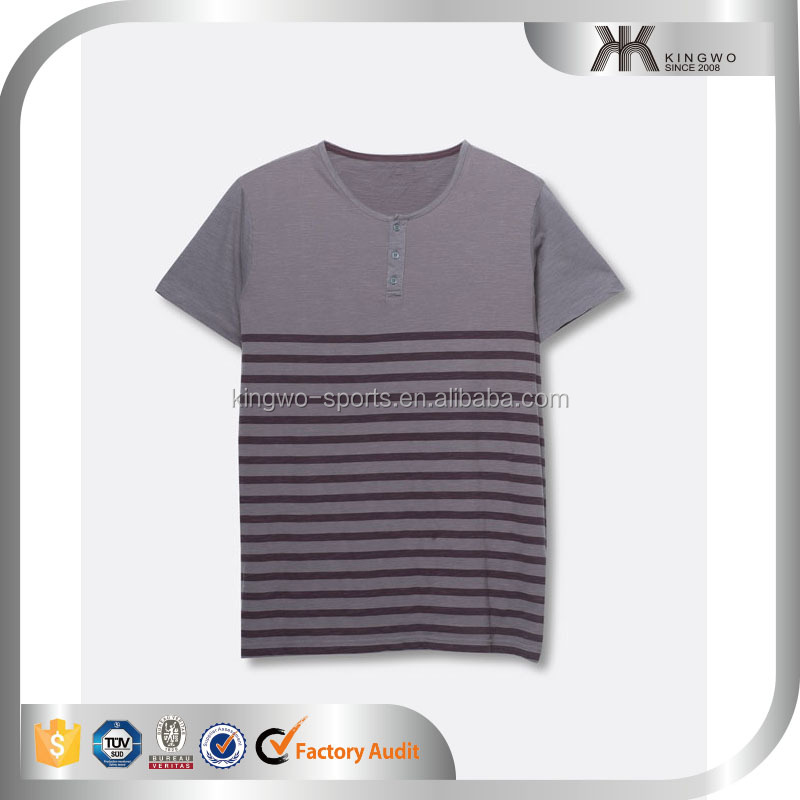 Wholesale custom men's short sleeve stripe print t shirt design