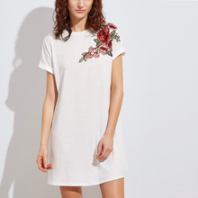 Online shopping short sleeves white long tshirt embroidery