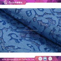 Eco-friendly Guipure dark blue multi color french knitting nylon cotton cord lace fabric cheap fabric for wedding dress