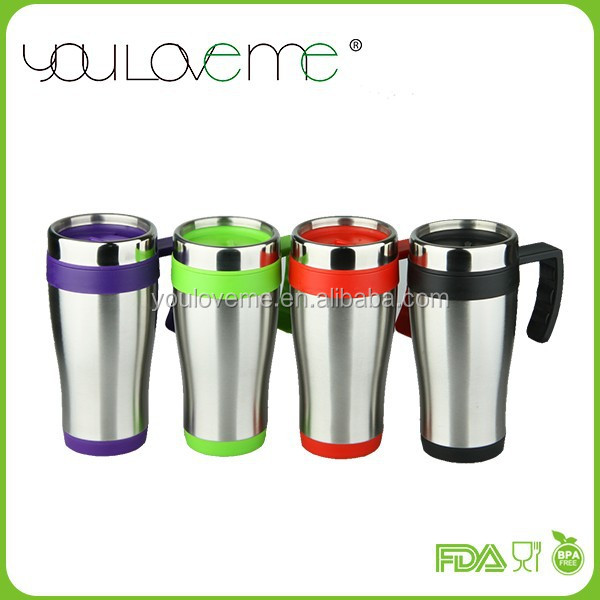 wholesales new style double wall plastic travel coffee mug with cookie holder