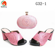 G032 Queency Wholesale Italian Fashion Evening Shoes with Matching Clutch Bags