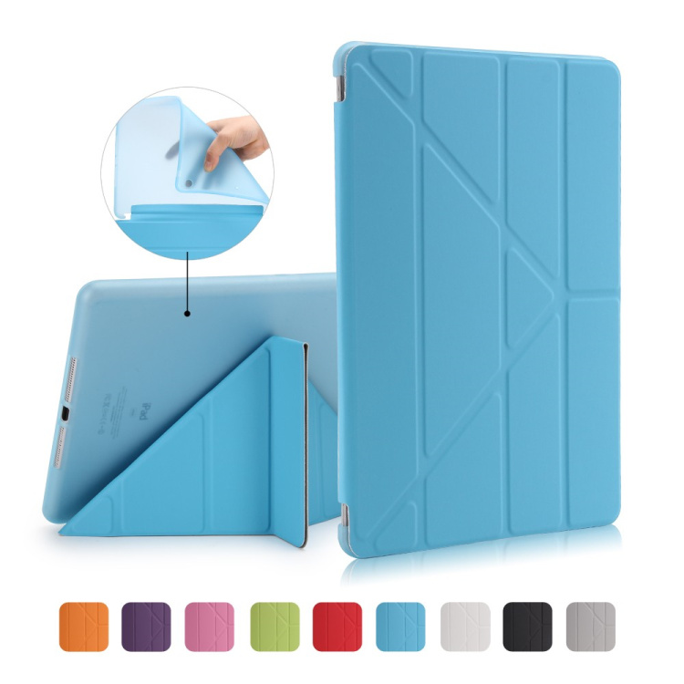 For New iPad 2017 Tablet Case Smart Stand Soft TPU Back Cover for iPad A1822 Flip Leather Cases Auto Wake / Sleep