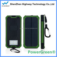 Double Output 15000mah Solar Battery Charger for Mobile Phone with Lamp