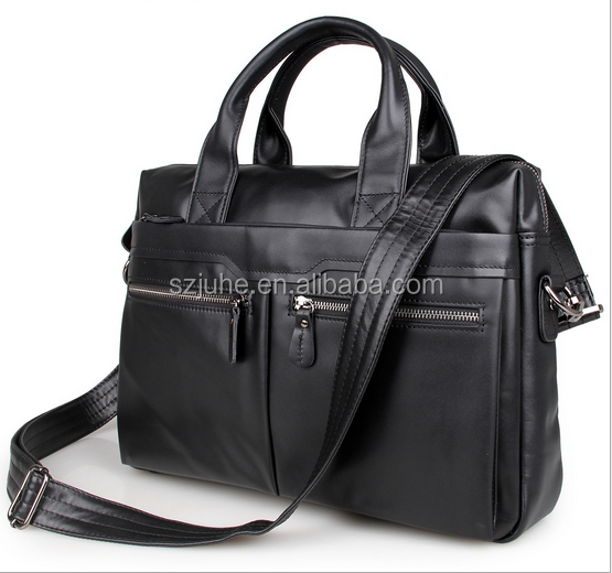2017 Wholesale Customized Luxury top <strong>grain</strong> 100% genuine leather business handbag for men