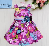 2016 Flower Print Girl Dress Summer Sleeveless Children Dress Exquisite Beaded Baby Cotton Frocks Designs