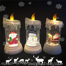 Battery Operated Electric Round Shape Flickering Led Acrylic Christmas Decoration Liquid Glitter Light Candle